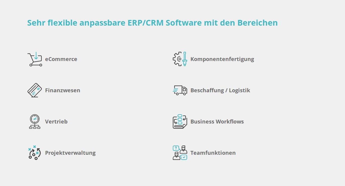 Sehr flexible anpassbare ERP/CRM Software mit den Bereichen